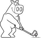 Clip Art,Leisure Games,Sport,Golf,Cartoon,Ball,Tee,Domestic Pig,Animal,Computer Graphic,Cheerful,putt putt,Golf Club,Smiling,Pig,Playing,Off,Happiness,Ilustration,Miniature Golf,Vector