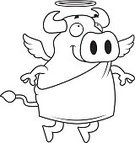 Spirituality,Happiness,Ilustration,Smiling,Wing,Vector,Cheerful,Halo,Bull - Animal,Animal,Cartoon,Cow,Flying,Angel