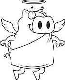 Ilustration,Spirituality,Pig,Smiling,Wing,Vector,Domestic Pig,Happiness,Cartoon,Animal,Flying,Halo,Cheerful,Angel