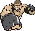 Punching,Boxing,Mixed Martial Arts,Combat Sport,Sports Glove,Courage,Exercising,Strength,Sport,Male,Symbol,Men,Mascot,Shaved Head,Gym,Human Arm,Martial Arts,Octagon,Six Pack,Bicep,Large,Cartoon,Cage,Training Class,Ilustration,Power,Vector,Heavy,Boxing Ring,Human Muscle,Awe