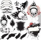 Tattoo,Flame,Wing,Fire - Natural Phenomenon,Coat Of Arms,Banner,Laurel Wreath,Human Bone,Ornate,Feather,Spray,Splattered,Placard,Circle,Laurel,Sandal,Award Plaque,graphic elements,Grunge Elements,Inkblot,Message,Spraying,Abstract Elements,Concepts And Ideas,Vector Icons,Illustrations And Vector Art,Isolated Objects