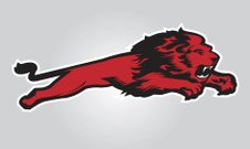 Lion - Feline,Mascot,Jumping,Vector,Animal,Sport,Undomesticated Cat,Snarling,Furious,Red,One Animal,Cats,Team Sports,Sports Symbols/Metaphors,Sports And Fitness,Full Length,Colored Background,No People,Gray,Animals And Pets