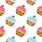 Muffin,Candy,Sweets Background,Berry Fruit,Wrapping Paper,Cartoon,Pastry,seamless pattern,Vector Food,Food