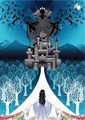 Snow White,Castle,Princess,Fairy Tale,Fantasy,Forest,Spooky,Witch,Vector,Magic,Evil,Rainbow,Crow,Dark,Deer,Autumn,Winter,Tree,Women,Blue,Ilustration,Gothic Style,Nature,Full Moon,Animal,Leaf