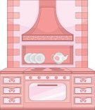 Oven,Furniture,Indoors,Kitchen,Stove,Chair,Closet,Sideboard,Cartoon,Domestic Life,Elegance,Luxury,Plate,Crockery,Gas,Decoration,Lifestyles,Stool,Domestic Room,Retro Revival,Cheerful,Female,Beauty,Pink Color,Old-fashioned,Table,Victorian Style,Beautiful,Classic,Old,Cabinet,Food,Home Interior