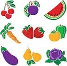 Eggplant,Green Bell Pepper,Vector,vector illustration,Dieting,Yellow Tomato,Strawberry,Fruit,Vegetable,Food,Cherry,Watermelon Slice,Healthy Eating
