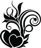 Silhouette,Romance,Ornate,Decor,Swirl,Symbol,Love,Valentine's Day - Holiday,Tattoo,Abstract,Single Flower,Black Color,Vector,Heart Shape,Floral Pattern,Flower,Design Element,Design,Pattern,Wedding