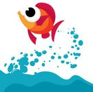 Fish,Jumping,Cute,Sea Life,Sea,Water,Fish Out Of Water,Animal,Vector,Ilustration,Bubble,Characters,Sea Life,Nature,Animals And Pets