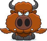 Young Animal,European Bison,American Bison,Animal,Anger,Displeased,Furious,Buffalo Chicken Wings,Cartoon,Ilustration,Small,Vector,Snarling,Computer Graphic,Clip Art,Frowning,Wing