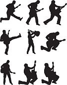 Guitarist,Silhouette,Pop Musician,Guitar,Popular Music Concert,Jazz,Music,Vector,Singing,Rock and Roll,Jumping,Back Lit,People,Men,Male,Playing,Action,White Background,Joy,Vitality,Sound,Kneeling,Mid-Air,Black And White,Flying,Ilustration,Adult,Illustration Technique,Excitement,Stretching,graphic element,Legs Apart,Energy,Creativity,Group Of People,Only Men,Fun,Digitally Generated Image,Holding,Design Element,Standing,Playful,Isolated On White,Enjoyment,creative element,Multiple Image