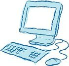 Computer,Sketch,Computer Mouse,Cartoon,Simplicity,Technology,Computer Keyboard,Internet,Computer Monitor,Desktop PC,Visual Screen,Technology,Vector Cartoons,Blue,Illustrations And Vector Art,Computers