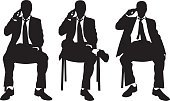 People,Suit,Action,Male,On The Phone,Black Color,Vector,Ilustration,Men,Silhouette,Professional Occupation,Group Of People,Adult,Sitting,Set,Tie,Telephone,Businessman,Tired,Collection,Talking,Chair,Isolated,Posing