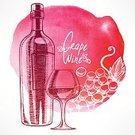 Wine,Wine Bottle,Vector,Red,Paint,Design,Old-fashioned,Restaurant,Food,Blob,Retro Revival,Cute,Spray,Drawing - Activity,Human Hand,Drink,Color Image,Poster,Alcohol,Textured Effect,Grape,White,Label,Glass - Material,Bottle,Drop,Glass,Ilustration,Backgrounds,Watercolor Paints,Watercolor Painting,Ink,Wineglass,Elegance,Menu,Painted Image,Textured,Gourmet,Winery,Sweet Food,Stained,Alcohol
