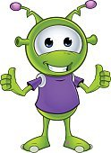 Smiling,Space,Isolated,Cheerful,Animal,Fantasy,Futuristic,Happiness,Characters,Cute,Monster,Cartoon,Vector,Green Color,Ilustration,Alien