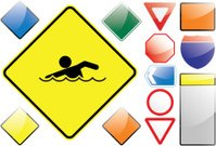 Swimming,Sport Symbol,Symbol,Sign,Road Sign,Information Symbol,Sports Symbols/Metaphors,Sports And Fitness,Vector Icons,Stick Figure,Yellow,Black Color,Illustrations And Vector Art