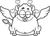 Loving,Ilustration,Love,Smiling,Wing,Vector,Heart Shape,Computer Graphic,American Bison,European Bison,Buffalo Chicken Wings,Cartoon,enamored,Clip Art,Animal