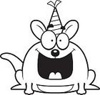 Party - Social Event,Kangaroo,Ilustration,party animal,Animal Pouch,Wallaby,Vector,Happiness,Cheerful,Party Hat,Birthday,Cartoon,Clip Art,Smiling,Computer Graphic,Animal