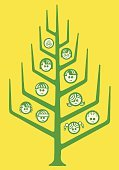 Line Art,Pop Art,Tree,Vector,Large Group Of People,Ilustration,Human Face,Family,Family Reunion,Family Tree,Branch