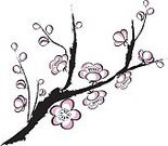 Cherry Blossom,Flower,Blossom,Branch,Line Art,Cartoon,Purple,Springtime,Ilustration,Drawing - Art Product,Design,Clip Art,Sketch,Outline,Pink Color,Isolated,Paintings,Elegance,Computer Graphic,Arts Backgrounds,Arts And Entertainment,Isolated On White,Colors