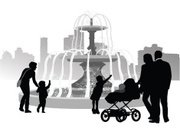 Drinking Fountain,Baby Stroller,Black Color,Playing,Playful,Vector,Town Square,Downtown District,Real People,Focus on Shadow,Ilustration,Water,Single Mother,Outline,Baby,Monument,pleasantry,The Human Body,Computer Graphic,Shadow,Heterosexual Couple,Silhouette,Child,Offspring,Father,Mother,Family,Toddler