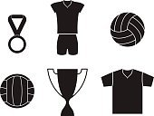 Volleyball - Sport,Symbol,Success,Cup,Sign,Clothing,Silhouette,Award,Trophy,Sports Equipment,Vector,Set,Sport,Ball,Icon Set,Team Sport,Sports Uniform