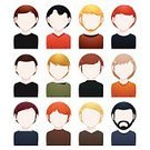 Human Hair,Hairstyle,Beard,Men,Male Beauty,Set,Adult,Barber,Caucasian Ethnicity,Isolated,Mustache,Characters,Human Face,Goatee,Vector,Avatar,Ilustration,People,Male