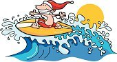 Santa Claus,Surfing,Beach,Christmas,Cartoon,Surfboard,Sport,Wave,Vacations,Swimming Shorts,Sunset,Holiday,Christmas,Vector Cartoons,Water,Sports And Fitness,Illustrations And Vector Art,Holidays And Celebrations
