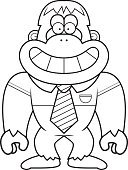 Smiling,Shirt,Primate,Tie,Vector,Occupation,White Collar Worker,Ilustration,Happiness,Yeti,Ape,Cartoon,Clip Art,Cheerful,Computer Graphic,Animal