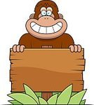 Primate,Tropical Rainforest,Sign,Smiling,Wood - Material,Vector,Ilustration,Happiness,Yeti,Ape,Cartoon,Clip Art,Cheerful,Computer Graphic,Animal