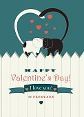 Valentine Card,Pets,Valentine's Day - Holiday,Cartoon,Nature,Romance,Painted Image,Dating,Ilustration,White,Ribbon,Domestic Animals,Cute,Loving,Animal,Love,Computer Graphic,Sky,Two Animals,Fun,paling,Feline,Vector,Tail,Kitten,Heart Shape,Domestic Cat,Design