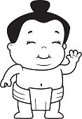 Sumo Wrestling,Smiling,Japanese Culture,Toddler,Vector,Wrestling,Waving,Ilustration,Happiness,Little Boys,Baby,Cartoon,Child,Cheerful,Greeting,Asian Ethnicity