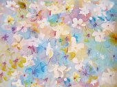 Nature,Horizontal,Paintings,Blue,Red,Pattern,Summer,Backgrounds,Abstract,Illustration,Batik,No People,Pastel Colored,2015,bright flowers