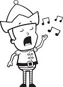 Ilustration,Music,Singing,Vector,Holiday,Elf,Little Boys,Cartoon,Child,Christmas