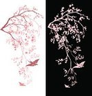 Cherry Blossom,Pink Color,Tree,East Asian Culture,Chinese Culture,Blossoming,Ornate,Bird,Flower,Branch,Springtime,Ilustration,Swallow - Bird,Flying,Season,Japanese Culture,Clip Art,Nature,Design Element,Vector,Decor