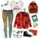 Autumn,Personal Accessory,Shoe,Backpack,Pattern,Torn,Fashion,Clothing,Creativity,Jeans,Backgrounds,Closet,Shirt,Bag,Essentials,Ilustration,Collection,Looking,T-Shirt