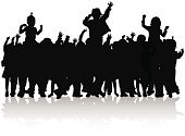 Happiness,Dancing,Dancer,Pop,Toddler,Hand Raised,Friendship,Crowd,Group Of People,Silhouette,Black Color,Disco,Little Girls,Little Boys,Child,Joy,Togetherness