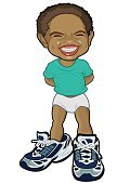 Cartoon,Baby,Little Boys,Childhood,Child,Smiling,One Person,Small,Ilustration,Characters,Toddler,Happiness,Humor,Isolated,Male,Cute,Cheerful,African Descent,People,Vector,Image