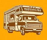 Leisure Activity,Road Trip,Tourist,Vacations,Land Vehicle,Pop Art,Single Object,Camping,Ilustration,Motor Home,No People