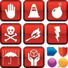 Safety,Symbol,Religious Icon,Human Hand,Fragile,Fire - Natural Phenomenon,Computer Icon,Insurance,Sign,Stop,Icon Set,Care,Packaging,Bomb,Lightning,Match,Human Skull,Alertness,Thunderstorm,Warning Symbol,Death,Red,Vector,Danger,Silhouette,Series,Umbrella,Warning Sign,Stop Gesture,Push Button,Interface Icons,Simplicity,Metallic,White,Geometric Shape,Shape,Ilustration,Orange Color,Traffic Cone,Rain,Sparse,Design,Shiny,Blue,Yellow,Illustrations And Vector Art,Purple,Vector Icons
