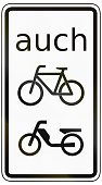 Reflection,Text,Sign,Computer Graphic,No People,Germany,Transportation,Traffic Regulations,Isolated On White,Traffic Rules,German Word,auch,Authority,Geometric Shape,Traffic,Additional Panel,Two Objects,Law,Motorcycle,Rectangle,Cyclist,Bicycle,Gray,Grayscale,Image,White,Black Color,Close-up,Vertical,Black And White,Symbol,Frame,Rounded Corner,Single Word,supplementary,Side View,German Text,Cycling,German Language,Moped,Additional Sign