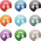 Headphones,Internet,Label,Symbol,Religious Icon,Computer Icon,Green Color,Orange Color,Red,Gray,Purple,Objects/Equipment,Multi Colored,web icon,Shiny,Blue,Single Object,Interface Icons,Illustrations And Vector Art,Vector Icons,Black Color,White Background,Curve,Push Button,Curled Up,Circle