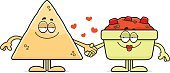 Tortilla Chip,Love,Cartoon,Affectionate,Bowl,Salsa,Food,Snack,Clip Art,Computer Graphic,Smiling,Holding Hands,Vector,Ilustration,Heart Shape,Cheerful,Happiness,Embracing