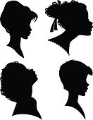 People,Human Body Part,Human Head,Side View,Hairstyle,Silhouette,Beauty,Baby,Teenager,Adult,Illustration,Women,Teenage Girls,Baby Girls,Vector,Makeup/Cosmetics