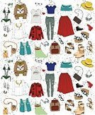 Fashion,Pattern,Bag,Collection,Backgrounds,Closet,T-Shirt,Shirt,Ilustration,Creativity,Clothing,Torn,Backpack,Autumn,Shoe,Personal Accessory,Jeans