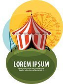 Circus Tent,Symbol,Fun,Flag,Event,Computer Graphic,Heat - Temperature,Performer,Humor,Ilustration,Insignia,Decor,Circus,Striped,Wheel,Vector,Sign,Cycle,Cute,template,Decoration