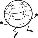 Globe - Man Made Object,Earth,Smiling,Joy,Vector,Ilustration,Jumping,Cheerful,Cartoon,Planet - Space,Happiness