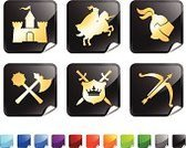 Knight,Castle,Medieval,Symbol,Sword,Work Helmet,Battle,Computer Icon,Shield,Gate,Horse,Vector,Axe,Black Color,Cross Bow,Saber,War,Spear,Paper,Conflict,Weapon,Red,Label,Set,Trumpet,Computer Graphic,Royal Person,Purple,Ilustration,Nobility,Blue,Rivalry,Digitally Generated Image,At The Edge Of,Bent,Insignia,Design,Arranging,Green Color,Orange Color,Shiny,Square Shape,Medieval Festival,Square,Page Curl,Helmet Visor,Curled Up