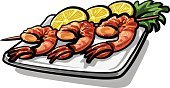 Prepared Shrimp,Crockery,Prawn,Lunch,Seafood,Grilled,Ilustration,Spit Roasted,Prepared Fish,Food,Barbecue,Fried,Eating,Meal,Roasted,Lemon,Eat,Plate,Dinner,Barbecue Grill,Gourmet,Snack,Vector