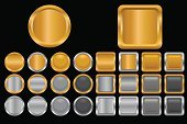 Gold Colored,Push Button,Gold,Interface Icons,Coin,Square Shape,Silver - Metal,Metal,Silver Colored,Square,Yellow,Metallic,Circle,Shiny,Black Color,Color Gradient,Symbol,Computer,Gray,Icon Set,Computer Icon,Set,Smooth,Reflection,Vector Icons,Design Element,Illustrations And Vector Art