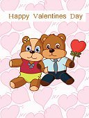 Cartoon,Ilustration,Two Animals,Cute,Love,Togetherness,Bear,Vector,Happiness,Holiday,Embracing,Isolated,Animal,Young Animal,Valentine Card,Heart Shape,Toy,Blue,Paw